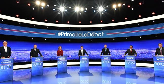 Un débat télévisé entre les candidats de la primaire de la droite et du centre, en France, le 13 octobre 2016.
