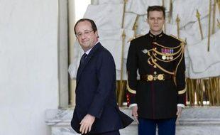 Le président François Hollande à l'issue du Conseil des ministres le 26 mars 2014 à l'Elysée à Paris