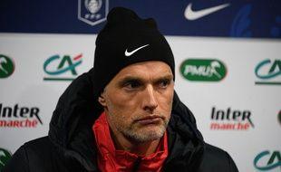 Thomas Tuchel fait la moue après la victoire de son équipe à Lorient.