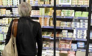 Illustration rayon beurre dans un supermarche a Nantes.