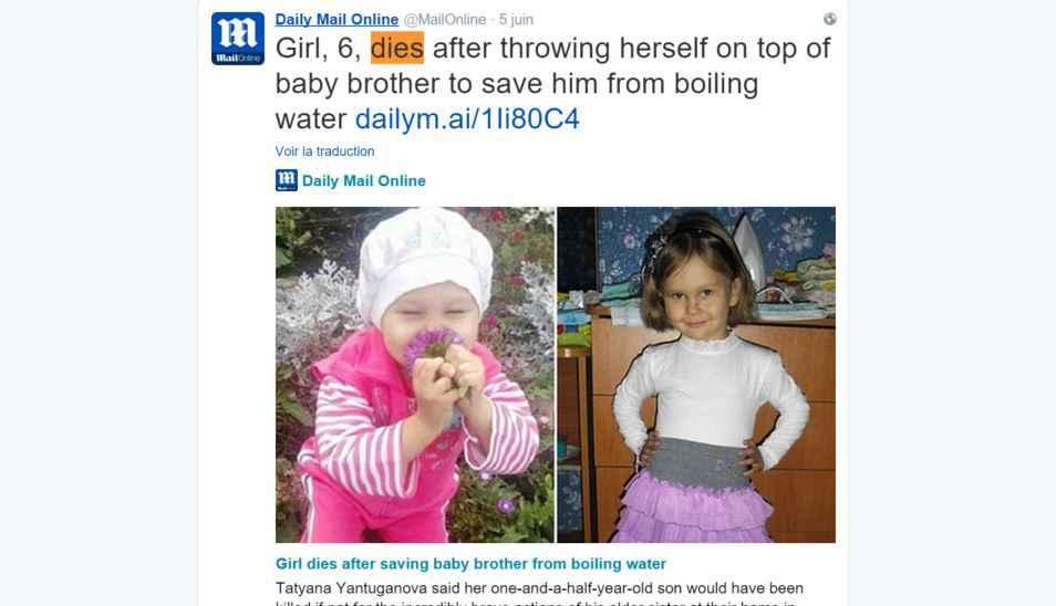Pour sauver son petit frère, petite fille de 6 ans meurt
