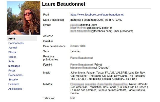 Capture d'écran de l'onglet Profil de la copie des données Facebook