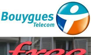 Les logos des deux opérateurs de télécom, Bouygues Telecom et Free
