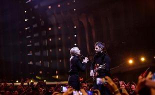 Madame Monsieur, lors du jury show de la finale de l'Eurovision, le 11 mai 2018 à Lisbonne.