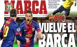 La Une du quotidien sportif madrilène Marca, le 13 mars 2013.