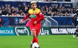 Le joueur du Mans  Youssef Maziz lors du 32e de finale de Coupe de la Ligue contre Bordeaux, le 4 janvier 2020.