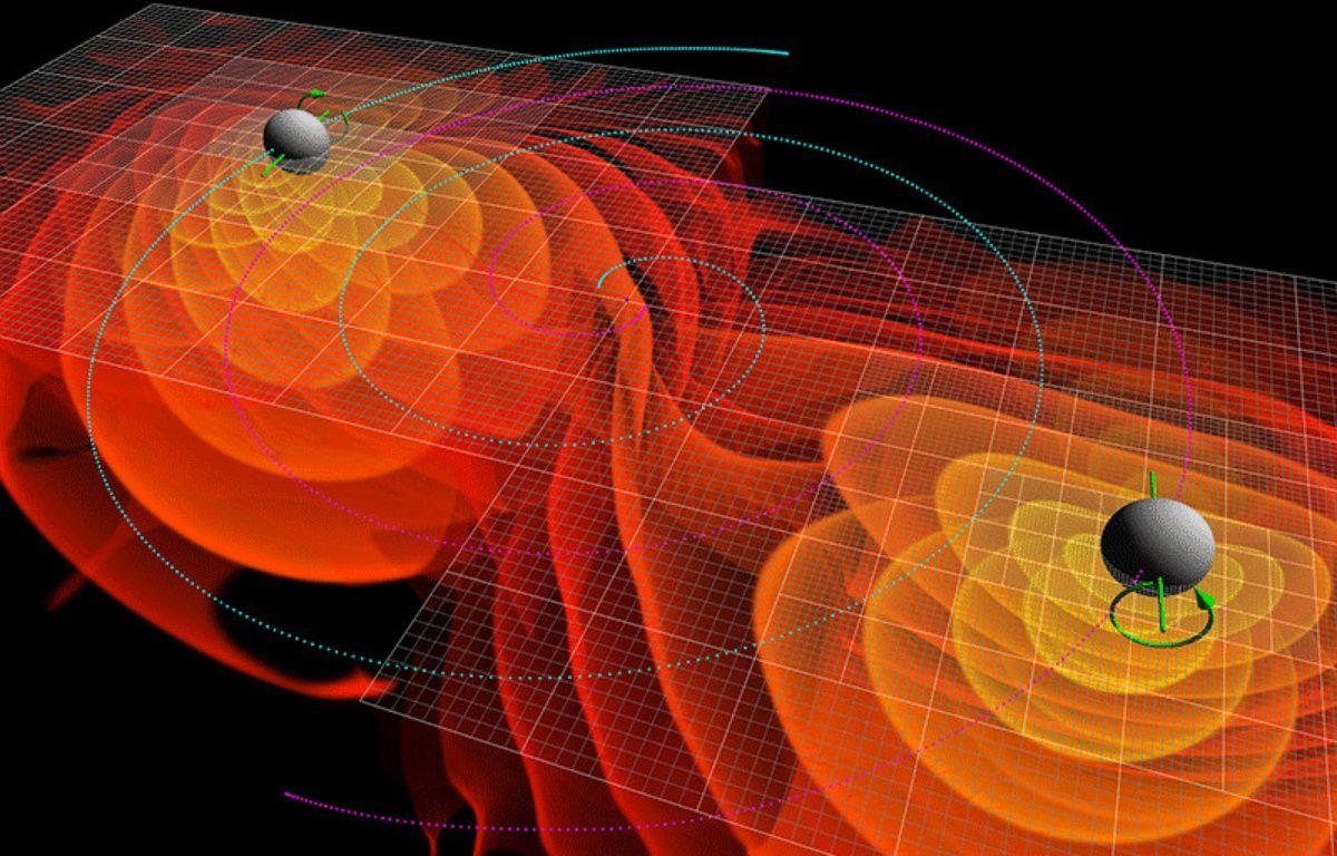 Représentation des ondes gravitationnelles émises par la fusion de deux trous noirs. – C. Henze/NASA Ames Research Center