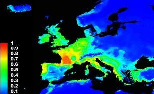 Carte des potentialités d'expansion du frelon asiatique en Europe