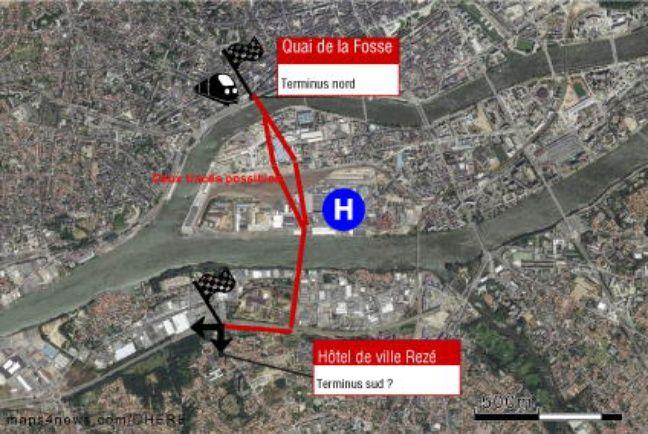 Le tracé éventuel de la future ligne de tramway sur l'île de Nantes.