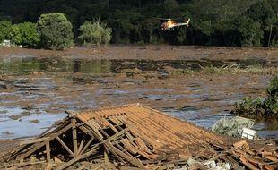 Les dégâts après l'effondrement du barrage de Brumadinho, en janvier 2019 au Brésil.