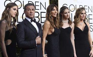 Sylvester Stallone et sa famille aux Golden Globes en janvier 2017.