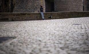 Une femme promenant son chien en période de confinement.