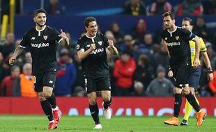 Wissam Ben Yedder après avoir marqué avec le FC Séville face à Manchester United en 8e de finale retour de Ligue des champions, le 13 mars 2018.