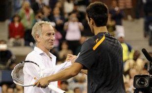 Novak Djokovic et John McEnroe à l'US Open le 7 septembre 2009.