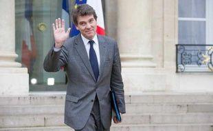 Le ministre du Redressement productif Arnaud Montebourg, le 17 otobre 2012, à sa sortie du Conseil des ministres à l'Elysée.