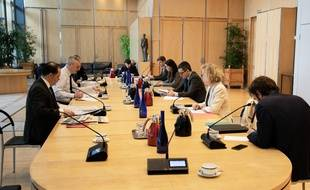 Une réunion au ministère de l'Economie et des Comptes publics avec Bruno Le Maire, Gérald Darmanin et Muriel Pénicaud.