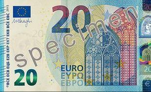 Le nouveau billet de 20 euros présenté par la BCE.