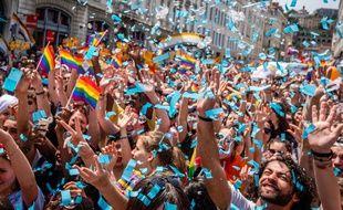 La marche des fiertés à Lyon le 16 juin 2018.