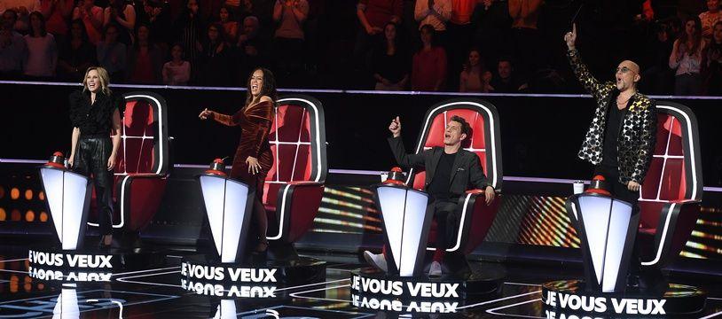 Lara Fabian, Amel Bent, Marc Lavoine et Pascal Obispo sur le tournage des auditions à l'aveugle de la neuvième saison de «The Voice», le 21 novembre 2019.