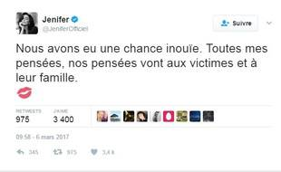 Le Tweet de Jenifer après l'accident mortel impliquant son car a choqué