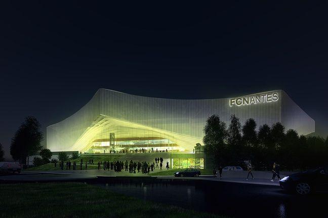 Image de synthèse du projet de stade du FC Nantes. Ici la façade animée les soirs de match.