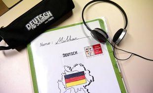 Un cahier d'allemand au collège.