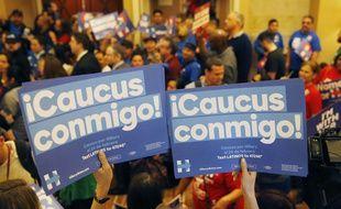 Des supporters d'Hillary Clinton, lors du caucus dans l'état du Nevada, le 20 février 2016.