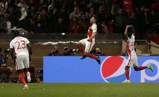 Falcao fête son but lors du quart de finale retour de Ligue des champions entre Monaco et Dortmund, le 19 avril 2017.