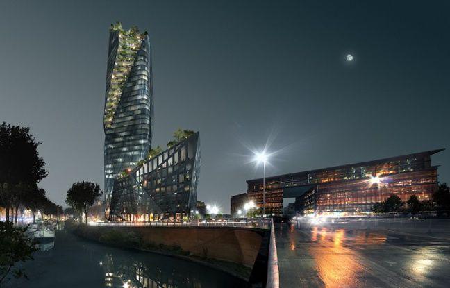 La version nocturne de l'Occitanie Tower.