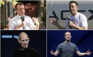 Emmanuel Macron, Elon Musk, Steve Jobs et Mark Zuckerberg.