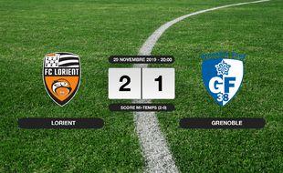 Ligue 2, 16ème journée: Lorient bat Grenoble 2-1 à domicile