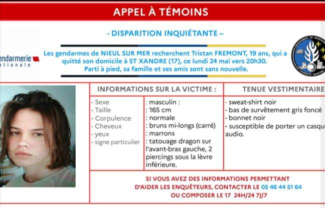 Appel à témoins de la gendarmerie concernant la disparition de Tristan Frémont