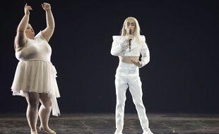 Lizzy Howell et Bilal Hassani lors des répétitions de la finale de l'Eurovision, le 17 mai 2019.
