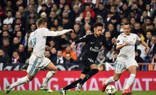 Neymar avec le PSG face au Real le 14 février 2018.