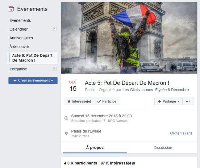 Capture d'écran de la page Facebook