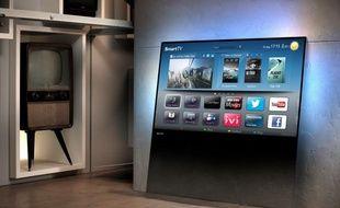 Une simple plaque de verre posée à même le sol: Philips invente la télévision de demain.