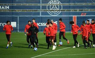 Les joueurs du PSG lors de la reprise de l'entraînement.