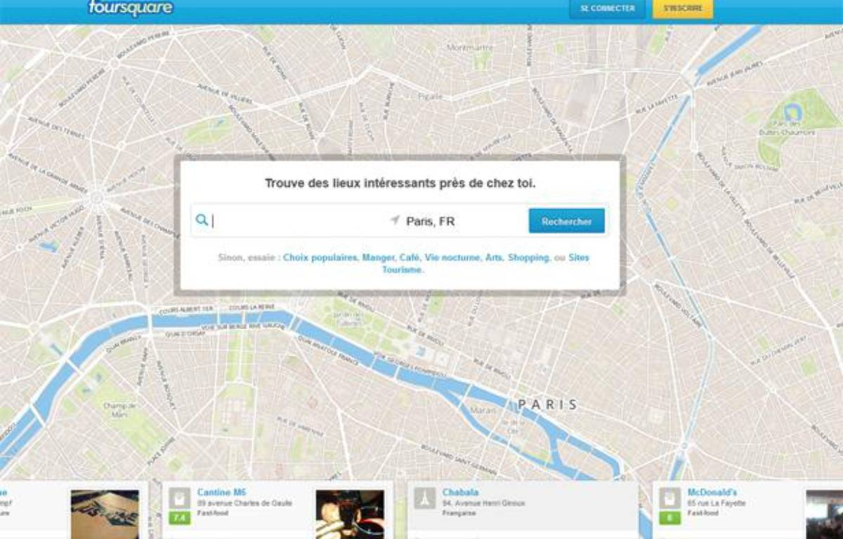 la page d'accueil du site de l'application Foursquare. – CAPTURE D'ECRAN/20MINUTES.FR