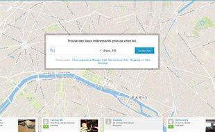 la page d'accueil du site de l'application Foursquare.