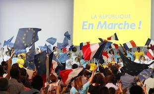 Un meeting de La République en marche, le 8 juillet 2017 à Paris.