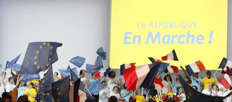Un meeting de La République en marche, le 8 juillet 2017 à Paris.