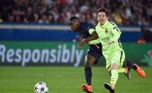 Blaise Matuidi au duel avec Lionel Messi lors de PSG-Barça en 2015.