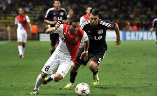 Le milieu de Monaco Joao Moutinho contre Leverkusen, lors de la 1ère journée de Ligue des champions, le 16 septembre 2014.