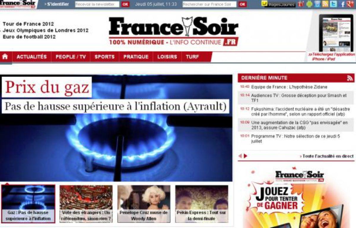 Le site de France Soir jeudi 5 juillet 2012. – France Soir