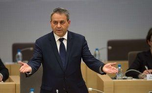 Xavier Bertrand pendant son discoursaprès son élection à la tête du conseil régional Nord-Pas-de-Calais-Picardie