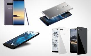 Le Samsung Galaxy Note 8, le Nokia 8, le Sharp Aquos S2 et l'Essential Phone.