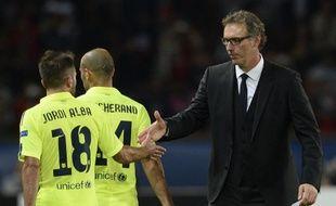 L'entraîneur du PSG Laurent Blanc, le 30 septembre 2014 au Parc des Princes contre Barcelone.