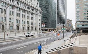 Une rue vide à Montréal, le 3 avril 2020.