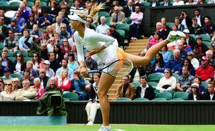 La joueuse de tennis Maria Sharapova lors de son premier tour à Wimbledon le 24 juin 2013.