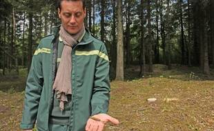 Guillaume Rouard, technicien forestier, montre le couvercle d'une boîte de sardines datant de la Première guerre mondiale, retrouvée en forêt de Verdun le 17 mai 2016.